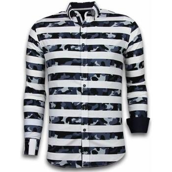 Kleidung Herren Langärmelige Hemden Tony Backer Itali Slim Blouse Big Stripe Weiß