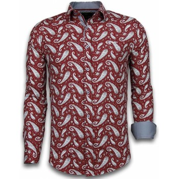 Kleidung Herren Langärmelige Hemden Tony Backer Itali Slim Blouse Flower Pattern Bordeaux