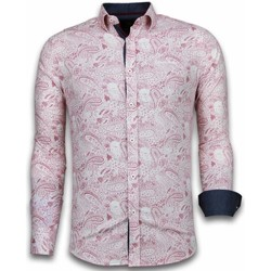 Kleidung Herren Langärmelige Hemden Tony Backer Itali Slim Blouse Allover Flower Pattern Rot, Rosa