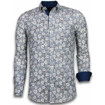 Kleidung Herren Langärmelige Hemden Tony Backer Itali Slim Blouse Drawn Flower Pattern Blau