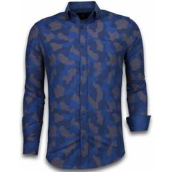 Kleidung Herren Langärmelige Hemden Tony Backer Itali Slim Blouse Dotted Camouflage Pattern Blau