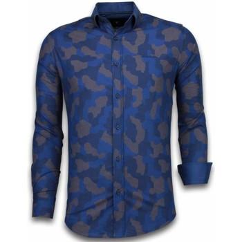 Kleidung Herren Langärmelige Hemden Tony Backer Itali Slim Blouse Dotted Camouflage Blau