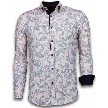 Kleidung Herren Langärmelige Hemden Tony Backer Itali Slim Blouse Baroque Pattern Rosa