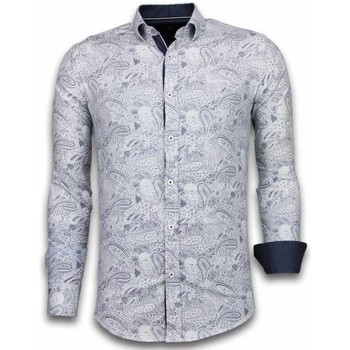 Kleidung Herren Langärmelige Hemden Tony Backer Itali Slim Blouse Allover Flower Pattern Blau