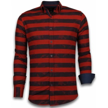 Kleidung Herren Langärmelige Hemden Tony Backer Itali Slim Blouse Big Stripe Camouflage Pattern Rot