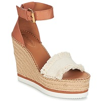 Schuhe Damen Leinen-Pantoletten mit gefloch See by Chloé SB28152 Cognac / Beige