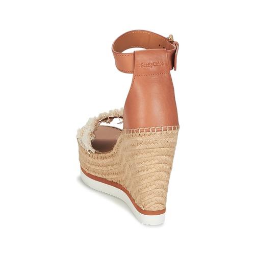 See / by Chloé SB28152 Cognac / See Beige  Schuhe Leinen-Pantoletten mit gefloch Damen 143,20 78df72