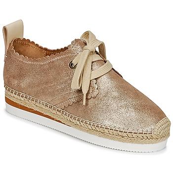 Schuhe Damen Leinen-Pantoletten mit gefloch See by Chloé SB30222 Gold