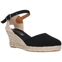 Schuhe Damen Leinen-Pantoletten mit gefloch Fernandez 682       5c noir