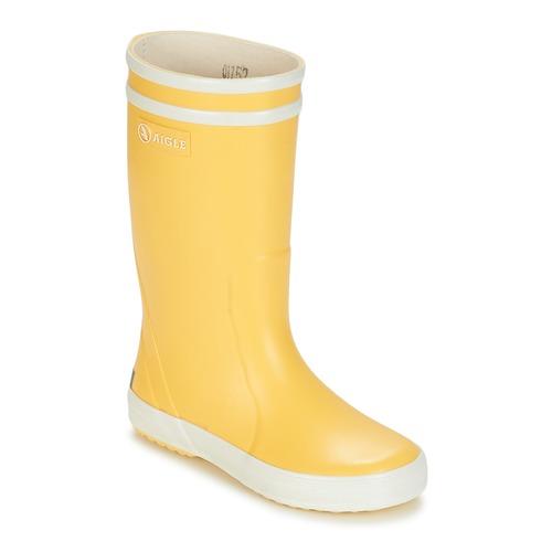 Schuhe Kinder Gummistiefel Aigle LOLLY POP Gelb / Weiss
