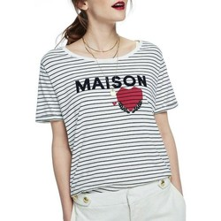Kleidung Damen T-Shirts Maison Scotch SHORT SLEEVE RELAXED LOGO TEE Weiß