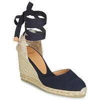Schuhe Damen Leinen-Pantoletten mit gefloch Castaner CARINA Marine