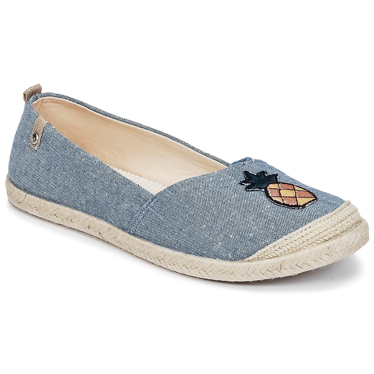 Roxy FLORA II J SHOE CHY Blau - Kostenloser Versand bei Spartoode ! - Schuhe Leinen-Pantoletten mit gefloch Damen 39,99 €