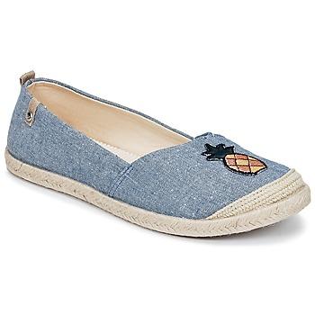 Schuhe Damen Leinen-Pantoletten mit gefloch Roxy FLORA II J SHOE CHY Blau