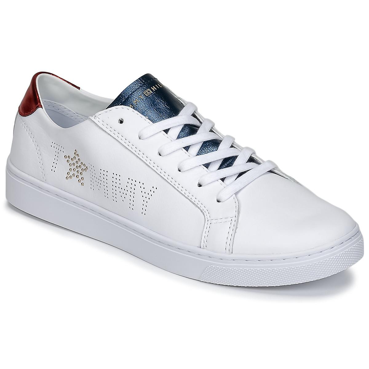 Tommy Hilfiger VENUS 22 Weiss / Blau / Rot - Kostenloser Versand bei Spartoode ! - Schuhe Sneaker Low Damen 79,90 €