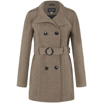 Kleidung Damen Trenchcoats De La Creme Wollgürtel Wintermantel Brown