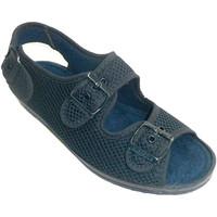 Schuhe Damen Hausschuhe Made In Spain 1940 Sehr breite Schuh Frau mit Schnallen auf Blau