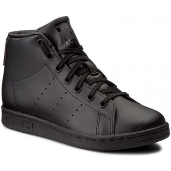 Schuhe Kinder Sneaker High adidas Originals Stan Smith Mid J Cblackcblackcblack Schwarz