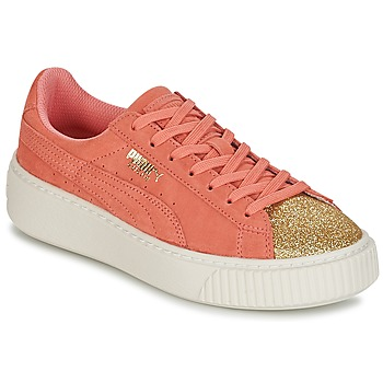 Schuhe Mädchen Sneaker Low Puma SUEDE PLATFORM GLAM JR Orange / Gold