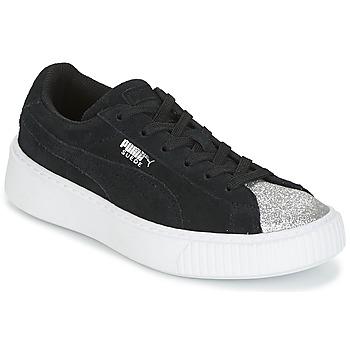 Schuhe Mädchen Sneaker Low Puma SUEDE PLATFORM GLAM PS Schwarz / Silbern
