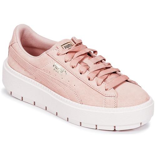 Puma SUEDE PLATFORM TRACE W'S Beige  Schuhe Sneaker Low Damen 95,20
