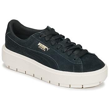 Schuhe Damen Sneaker Low Puma SUEDE PLATFORM TRACE W'S Schwarz / Weiss