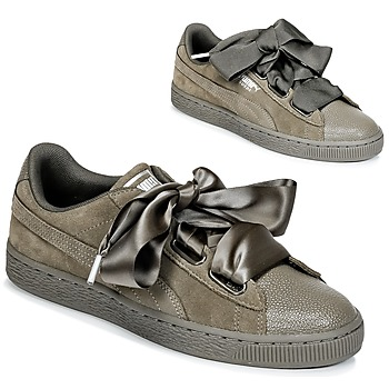 Schuhe Damen Sneaker Low Puma SUEDE HEART BUBBLE W'S Kaki