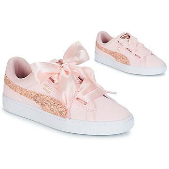 Schuhe Damen Sneaker Low Puma BASKET HEART CANVAS W'S Rose