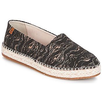 Schuhe Damen Leinen-Pantoletten mit gefloch El Naturalista SEAWEED CANVAS Schwarz / Grau