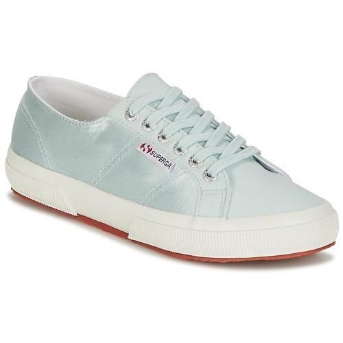 Superga 2750 SATIN W Blau / Silbern  Schuhe Sneaker Low Damen 50,99