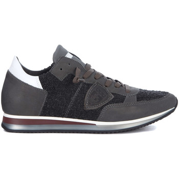 Schuhe Herren Sneaker Low Philippe Model Paris Sneakers Tropez in Leder Grau & Bouclé Grau