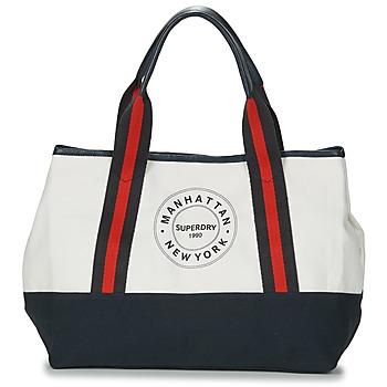 Taschen Damen Shopper / Einkaufstasche Superdry BAYSHORE BEACH TOTE Weiss / Marine / Rot