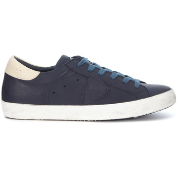 Schuhe Herren Sneaker Low Philippe Model Paris Sneakers Paris in Leder Blau und Creme Blue