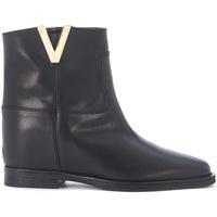 Schuhe Damen Boots Via Roma 15 Tronchetto  in pelle liscia nera Schwarz