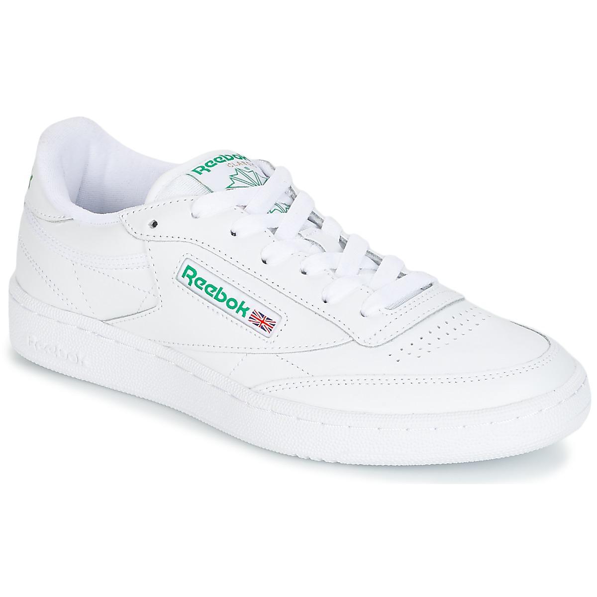 Reebok Classic CLUB C 85 Weiss / Grün - Kostenloser Versand bei Spartoode ! - Schuhe Sneaker Low  72,00 €