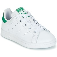 Schuhe Kinder Sneaker Low adidas Originals STAN SMITH C Weiss / Grün
