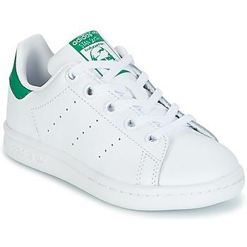 Schuhe Kinder Sneaker Low adidas Originals STAN SMITH C Weiss / Grün