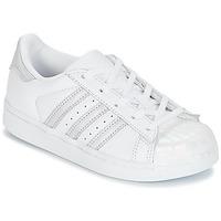 Schuhe Mädchen Sneaker Low adidas Originals STAN SMITH C Weiss / Silbern