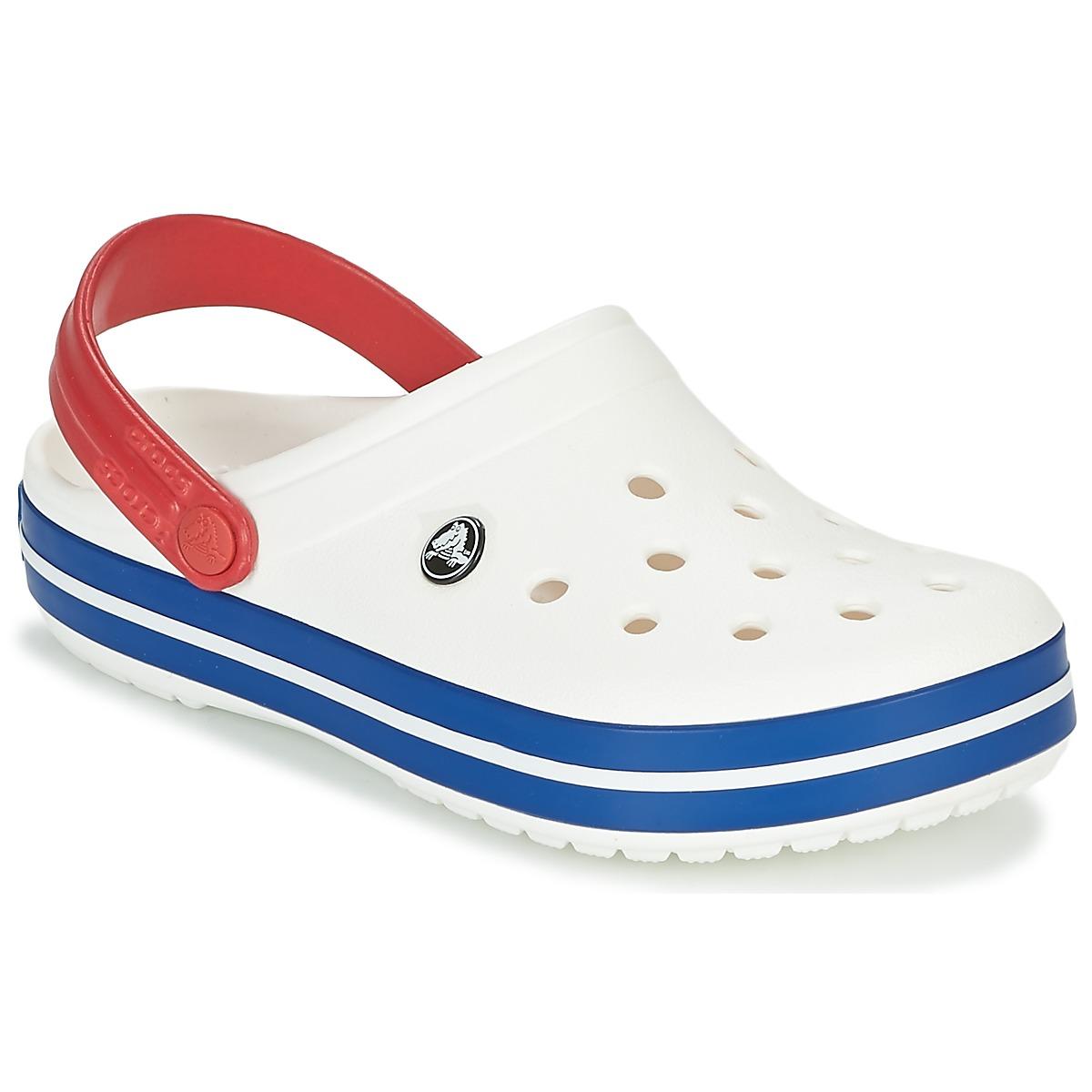 Crocs CROCBAND Weiss / Blau / Rot - Kostenloser Versand bei Spartoode ! - Schuhe Pantoletten / Clogs  27,00 €