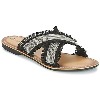 Schuhe Damen Pantoffel Moony Mood IRTA Schwarz / Silbern