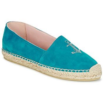 Schuhe Damen Leinen-Pantoletten mit gefloch Pretty Ballerinas ANGELIS Türkis