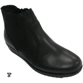 Schuhe Damen Low Boots 48 Horas Seitliche Reißverschluss-Frauen-Knöchels Schwarz