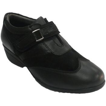 Schuhe Damen Slipper 48 Horas Damen Schuh mit Klettband aus Leder und Schwarz