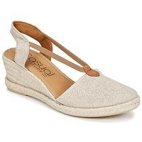 Schuhe Damen Leinen-Pantoletten mit gefloch Casual Attitude IPOP Goldfarben