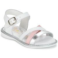 Schuhe Mädchen Sandalen / Sandaletten Citrouille et Compagnie IZOEGL Weiss / Silbern / Rose