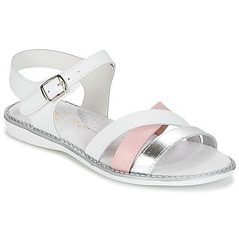 Schuhe Mädchen Sandalen / Sandaletten Citrouille et Compagnie IZOEGL Weiss / Rose / Silbern