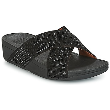 Schuhe Damen Pantoffel FitFlop CRYSTAL II SLIDE SANDALS Schwarz