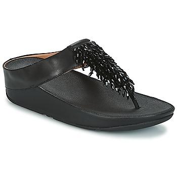 Schuhe Damen Zehensandalen FitFlop CHA-CHA TOE-THONG SANDALS CRYSTAL Schwarz