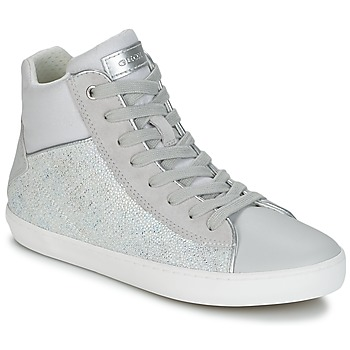 Schuhe Mädchen Sneaker High Geox J KILWI G. H Grau / Silbern