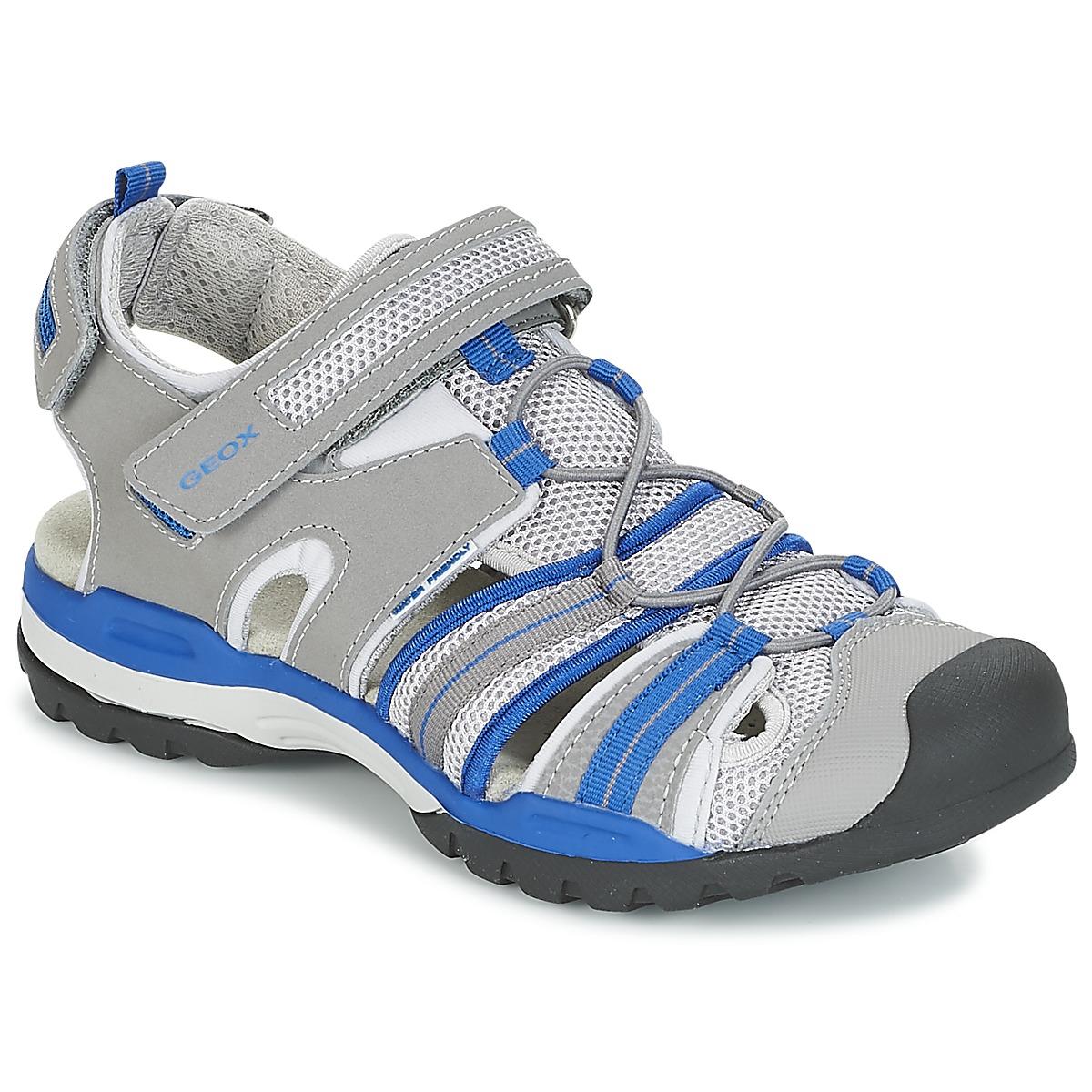 Geox J BOREALIS B C Grau / Blau - Kostenloser Versand bei Spartoode ! - Schuhe Sportliche Sandalen Kind 59,90 €